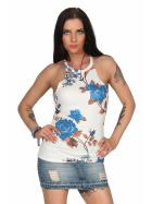 SL1 Damen Top Sommer Geblümt Halsband Stretch Racerback, Weiß Blau S 36