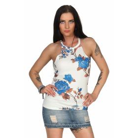 SL1 Damen Top Sommer Geblümt Halsband Stretch Racerback, Weiß Blau M 38