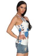 SL1 Damen Top Sommer Geblümt Halsband Stretch Racerback, Weiß Blau L 40