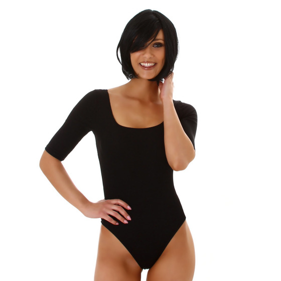 Jela London Damen Sexy Sommer-Body Tiefer Ausschnitt Stretch, Schwarz 36 (M)