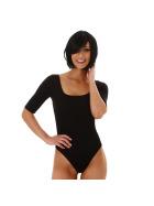 Jela London Damen Sexy Sommer-Body Tiefer Ausschnitt Stretch, Schwarz 34 (S)
