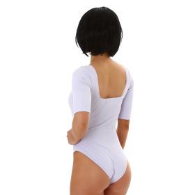 Jela London Damen Sexy Sommer-Body Tiefer Ausschnitt Stretch, Lavendel 34 (S)