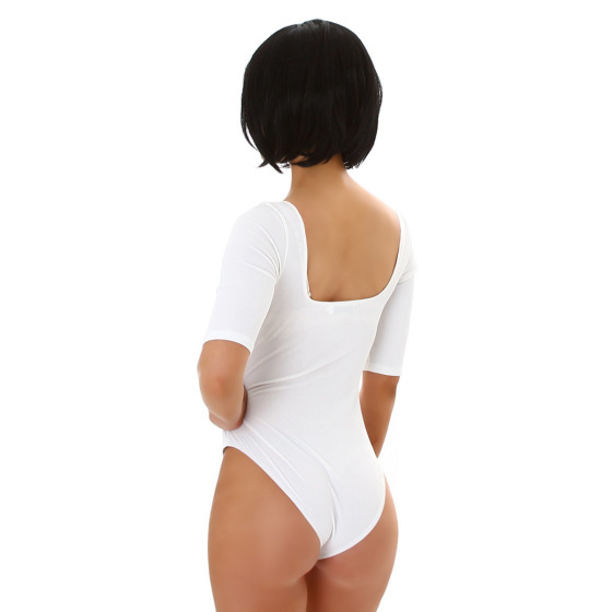 Jela London Damen Sexy Sommer-Body Tiefer Ausschnitt Stretch, Weiß 36 (M)