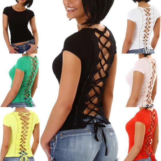 StyleLightOne Damen Sexy Sommer Shirt Häkelspitze Schnürung Stretch (34-38)