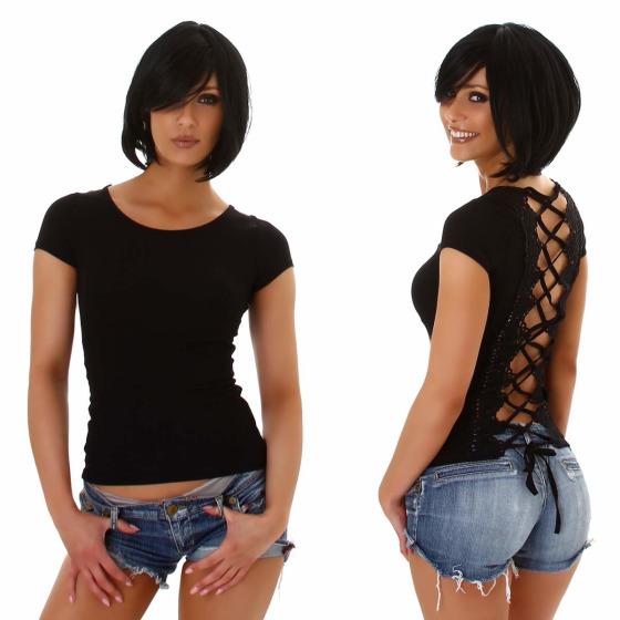Jela London Damen Sexy Sommer T-Shirt Schnürung Häkelspitze, Schwarz 34 (S)