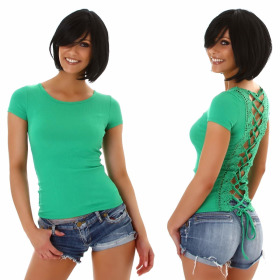 Jela London Damen Sexy Sommer T-Shirt Schnürung Häkelspitze, Grün 34 (S)