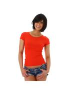 Jela London Damen Sexy Sommer T-Shirt Schnürung Häkelspitze, Rot 34 (S)