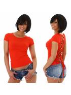 Jela London Damen Sexy Sommer T-Shirt Schnürung Häkelspitze, Rot 36 (M)
