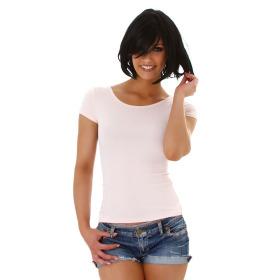 Jela London Damen Sexy Sommer T-Shirt Schnürung Häkelspitze, Rosa 34 (S)