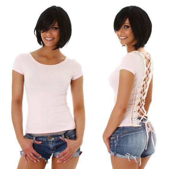 Jela London Damen Sexy Sommer T-Shirt Schnürung Häkelspitze, Rosa 36 (M)