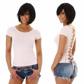 Jela London Damen Sexy Sommer T-Shirt Schnürung Häkelspitze, Rosa 38 (L)