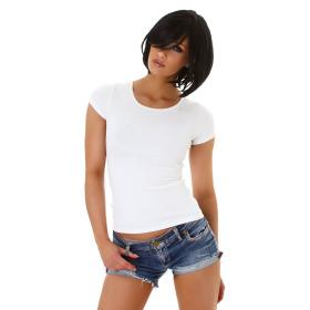 Jela London Damen Sexy Sommer T-Shirt Schnürung Häkelspitze, Weiß 34 (S)