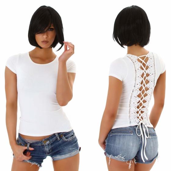 Jela London Damen Sexy Sommer T-Shirt Schnürung Häkelspitze, Weiß 38 (L)