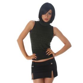 Jela London Damen Stretch Glitzer-Top Rollkragen Streifen, Grün 34 36 38