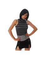 Jela London Damen Stretch Glitzer-Top Rollkragen Streifen, Silber 34 36 38