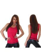 Jela London Damen Träger Tank-Top Shirt Spitze, Pink 36 38 (ML)