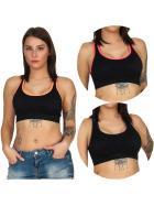 SL1 Damen Fitness Crop-Top Sport-BH Kompression Pads, 3er Set