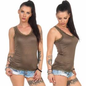 StyleLightOne Damen Dünnes Tank-Top Spitze Stretch, Olivegrün 36 38