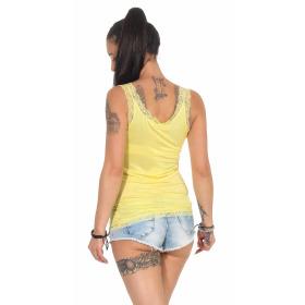 StyleLightOne Damen Dünnes Tank-Top Spitze Stretch, Gelb 36 38