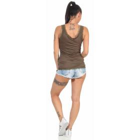 StyleLightOne Damen Dünnes Tank-Top Spitze Stretch, Olivgrün 40 42