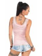 StyleLightOne Damen Dünnes Tank-Top Spitze Stretch, Rosa 40 42