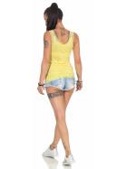 StyleLightOne Damen Dünnes Tank-Top Spitze Stretch, Gelb 40 42
