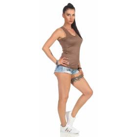 StyleLightOne Damen Dünnes Tank-Top Spitze Stretch, Braun 40 42