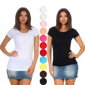 Jela London Damen Basic Longshirt Stretch V-Ausschnitt...