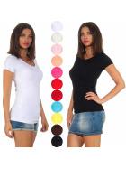 Jela London Damen Basic Longshirt Stretch V-Ausschnitt Rundhals (36-42)