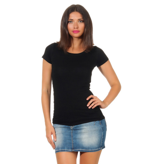 Jela London Damen Longshirt T-Shirt Stretch Rundhals, Schwarz 36 (M)