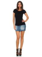 Jela London Damen Longshirt T-Shirt Stretch Rundhals, Schwarz 34-36 (M)