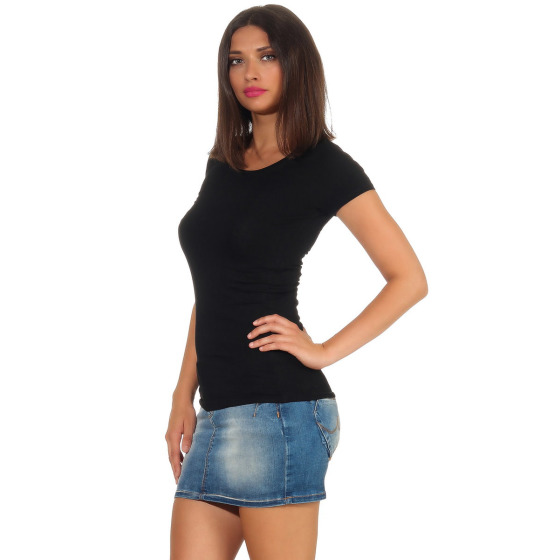 Jela London Damen Longshirt T-Shirt Stretch Rundhals, Schwarz 38 (L)