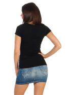 Jela London Damen Longshirt T-Shirt Stretch Rundhals, Schwarz 36-38 (L)