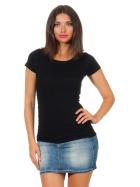 Jela London Damen Longshirt T-Shirt Stretch Rundhals, Schwarz 38-40 (XL)