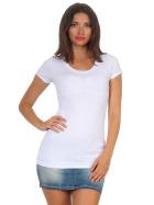 Jela London Damen Longshirt T-Shirt Stretch Rundhals, Weiß 36-38 (L)