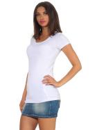 Jela London Damen Longshirt T-Shirt Stretch Rundhals, Weiß 38-40 (XL)