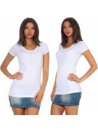 Jela London Damen Longshirt T-Shirt Stretch Rundhals, Weiß 40-42 (XXL)