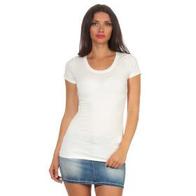 Jela London Damen Longshirt T-Shirt Stretch Rundhals, Creme 34-36 (M)