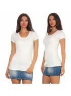 Jela London Damen Longshirt T-Shirt Stretch Rundhals, Creme 38-40 (XL)