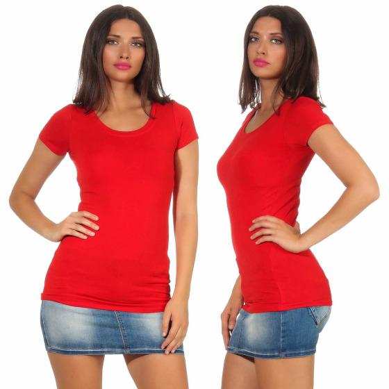 Jela London Damen Longshirt T-Shirt Stretch Rundhals, Rot 34-36 (M)
