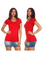 Jela London Damen Longshirt T-Shirt Stretch Rundhals, Rot 38-40 (XL)
