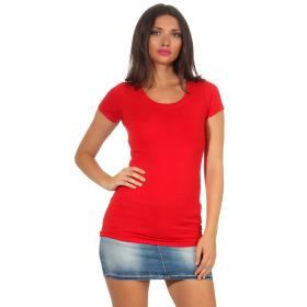 Jela London Damen Longshirt T-Shirt Stretch Rundhals, Rot 40-42 (XXL)