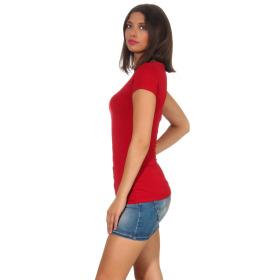 Jela London Damen Longshirt T-Shirt Stretch Rundhals, Dunkelrot 34-36 (M)
