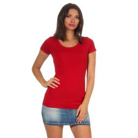Jela London Damen Longshirt T-Shirt Stretch Rundhals, Dunkelrot 36-38 (L)