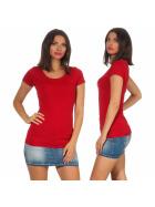 Jela London Damen Longshirt T-Shirt Stretch Rundhals, Dunkelrot 40-42 (XXL)