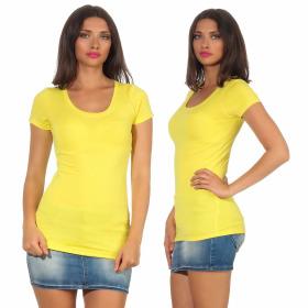 Jela London Damen Longshirt T-Shirt Stretch Rundhals, Gelb 34-36 (M)
