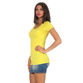 Jela London Damen Longshirt T-Shirt Stretch Rundhals, Gelb 40-42 (XXL)