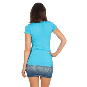 Jela London Damen Longshirt T-Shirt Stretch Rundhals, Hellblau 38-40 (XL)