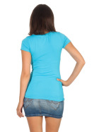 Jela London Damen Longshirt T-Shirt Stretch Rundhals, Hellblau 40-42 (XXL)