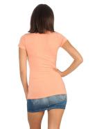 Jela London Damen Longshirt T-Shirt Stretch Rundhals, Pfirsisch 34-36 (M)